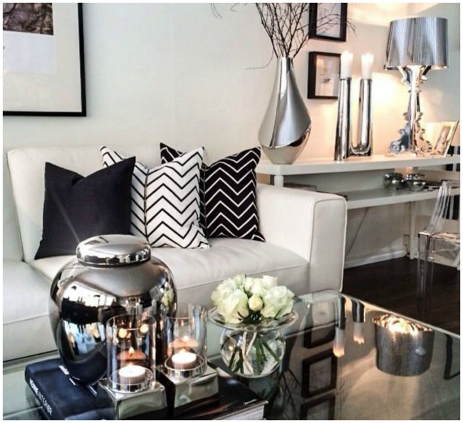 Ry m ry s dopl ky nechte promluvit kov a d evo - Black gold and silver living room ...